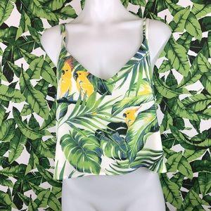 5 for $25 June & Hudson Leaf Parrot Print Tank Top